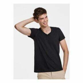 Camiseta cuello pico personalizada barata manga corta hombre roly 166549