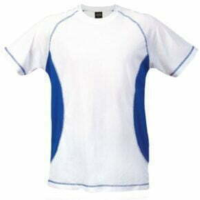 Camiseta manga corta 100% poliester blanca azul 264473
