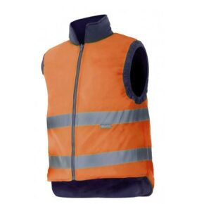 Chaleco acolchado reversible alta visibilidad ropa de trabajo barata Velilla serie 148, 100% poliéster