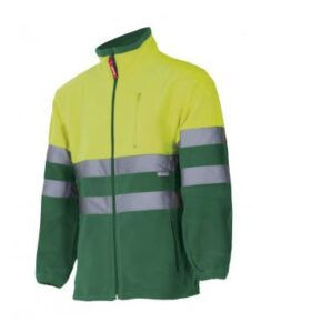 Chaqueta polar bicolor alta visibilidad ropa de trabajo barata Velilla Serie 183, 100% Poliéster
