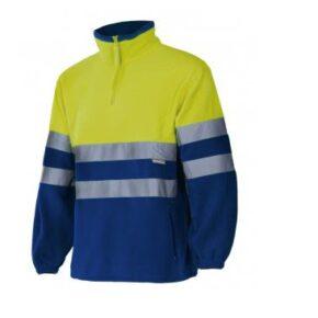 Forro polar bicolor alta visibilidad ropa laboral barata Velilla serie 182, 100% Poliéster