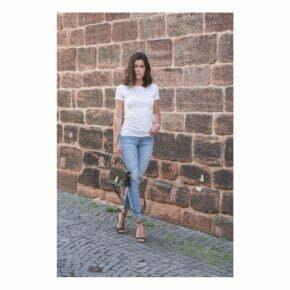 Camisetas personalizadas online baratas manga corta algodon organico mujer russell r-108f
