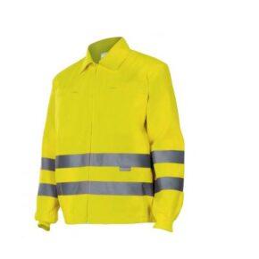 Cazadora alta visibilidad ropa de trabajo barata Velilla serie 155, 80% algodón 20% poliéster