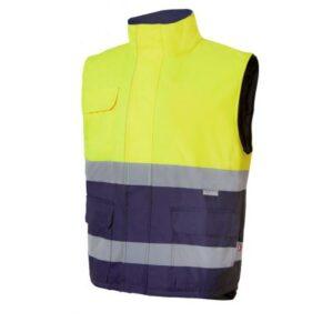 Chaleco acolchado bicolor alta viibilidad ropa laboral barata Velilla serie 305902, 100% Poliéster