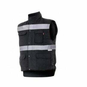 Chaleco acolchado multibolsillos alta visibilidad ropa de trabajo barata Velilla serie 205904, 100% poliéster
