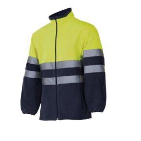 Chaqueta polar bicolor alta visibilidad ropa de trabajo barata Serie 301503 Velilla, 100% poliéster