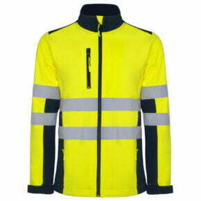 Chaqueta softshell alta visibilidad ropa de trabajo barata Roly 169303, 92% poliéster 8% elastano