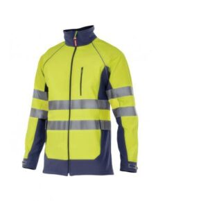 Chaqueta sotfshell alta visibilidad ropa laboral barata Velilla serie 306001, 94% poliester 4% elastano