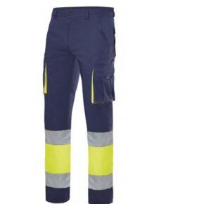Pantalón bicolor alta visibilidad ropa de trabajo barata Velilla serie 303007, 100% algodón