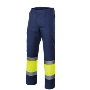 Pantalón multibolsillos bicolor alta visibilidad Velilla serie 303003, 20% algodón 80% poliéster