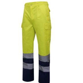 Pantalón multibolsillos bicolor alta visibilidad ropa de trabajo barata Velilla serie 30301, 35% algodón 65% poliéster