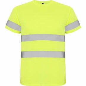 Ropa de trabajo barata Camiseta técnica manga corta alta visibilidad 169306 Roly, 100% poliéster