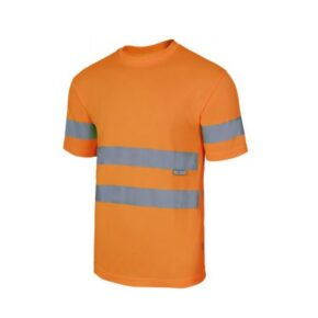 Ropa de trabajo barata Camiseta técnica manga corta alta visibilidad Velilla serie 305505, 100% poliéster