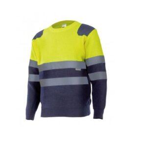 Ropa de trabajo barata Jersey bicolor alta visibilidad Velilla serie 179, Punto canalé. 100% acrílico