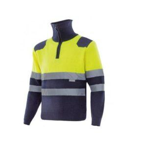 Ropa de trabajo barata Jersey bicolor alta visibilidad Velilla serie 301001,Punto canalé. 100% acrílico