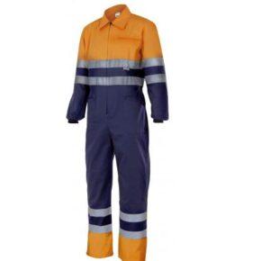 Ropa de trabajo barata Mono bicolor alta visibilidad Velilla serie 151, 65% poliéster - 35% algodón