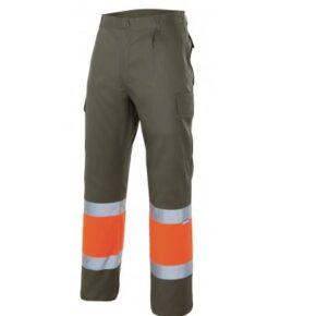 Ropa de trabajo barata Pantalón bicolor alta visibilidad Velilla Serie 157C, 35% algodón 65% poliéster