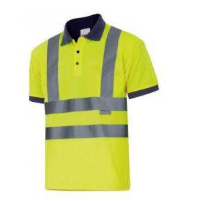 Ropa de trabajo barata Polo manga corta alta visibilidad Velilla serie 305502, 100% poliéster