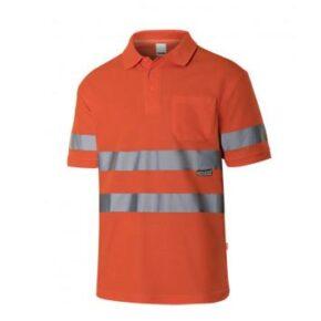 Ropa de trabajo barata Polo manga corta alta visibilidad Velilla serie 305512, 55% algodón 45% poliéster
