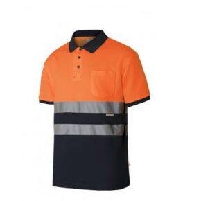 Ropa de trabajo barata Polo manga corta bicolor alta visibilidad Velilla serie 305513, 55% algodón 45% poliéster