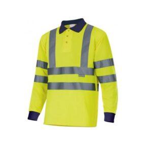 Ropa de trabajo barata Polo manga larga alta visibilidad Velilla serie 305503, 100% poliéster