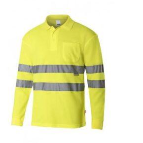 Ropa de trabajo barata Polo manga larga alta visibilidad Velilla serie 305514, 55% algodón 45% poliéster