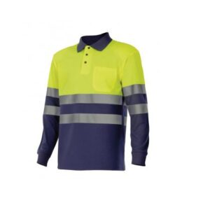 Ropa de trabajo barata Polo manga larga bicolor alta visibilidad Velilla serie 305507, 100% poliéster