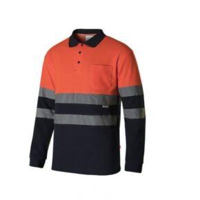 Ropa de trabajo barata Polo manga larga bicolor alta visibilidad Velilla serie 305515, 55% algodón 45% poliéster