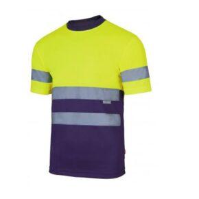 Ropa de trabajo barata camiseta técnica manga corta alta visibilidad Velilla serie 305506, 100% poliéster