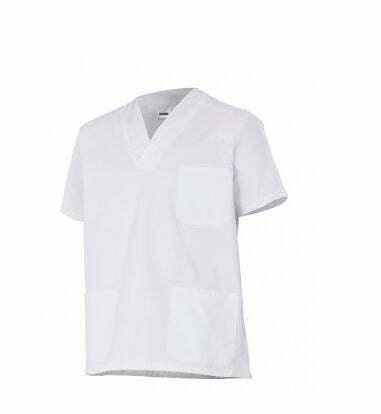 Ropa de trabajo barata camisola manga corta sanidad y limpieza Velilla serie 587, 35% algodón 65% poliéster