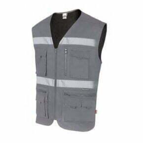 Ropa de trabajo barata chaleco multibolsillos alta visibilidad industria base Velilla serie C105901, 35% algodón 65% poliéster