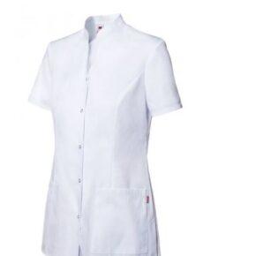 Ropa de trabajo barata chaqueta con automáticos manga corta sanidad y limpieza Velilla serie 535203, 35% algodón 65% poliéster