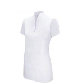 Ropa de trabajo barata chaqueta manga corta con cremallera sanidad y limpieza Velilla serie 532202, 35% algodón 65% poliéster