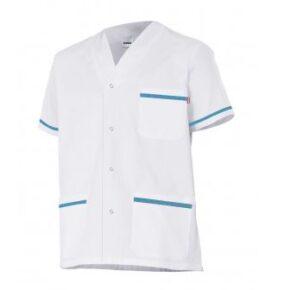 Ropa de trabajo barata chaqueta pijama manga corta sanidad y limpieza Velilla serie P535201, 35% algodón 65% poliéster