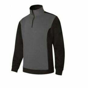 Ropa de trabajo barata sudadera bicolor media cremallera industria base Velilla serie 105703, 35% algodón 65% poliéster
