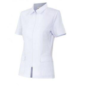 Ropa de trabajo barata Chaqueta con cremallera manga corta sanidad y limpieza Velilla serie 590, 35% algodón 65% poliéster