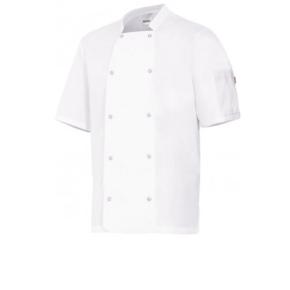 Ropa de trabajo barata Chaqueta cocina unisex manga corta Velilla Serie 405205-Plana. 65% poliéster - 35% algodón